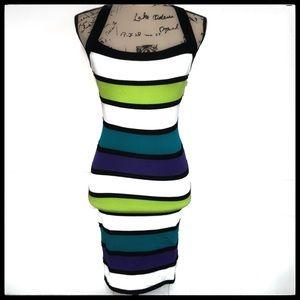 2B Bebe Bandage Dress Color Blocked w/Blk straps M